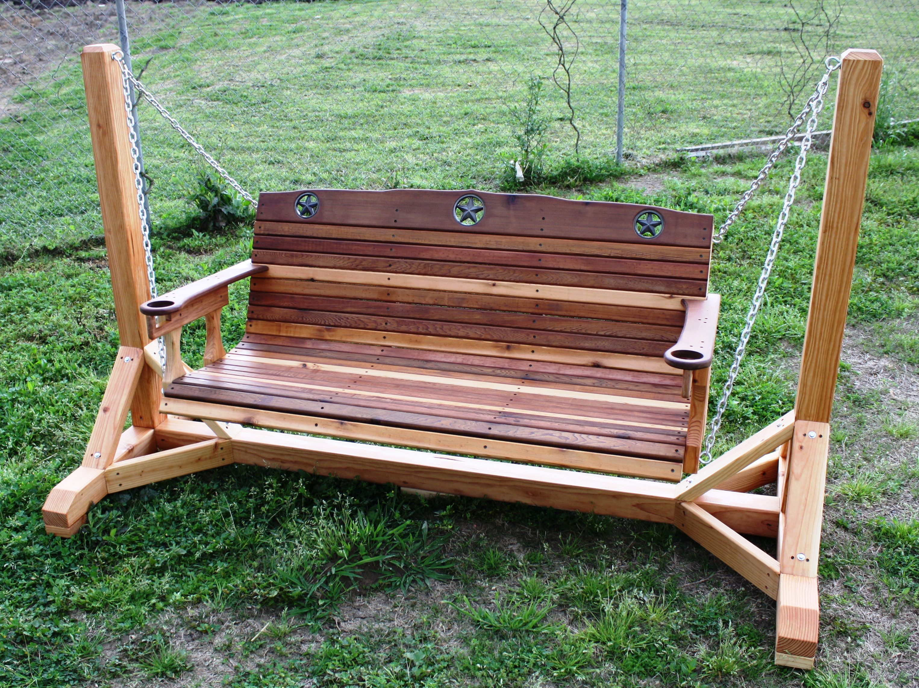 Rustic Star Texas Porch Swing Cedar Creek Woodshop Porch Swing Porch Swing Frame Diy Porch Swing Plans Wooden porch swings with stand