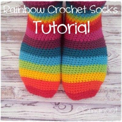 Oomanoot | Rainbow Slipper Socks Tutorial (Giveaway #3) | Crochet ...