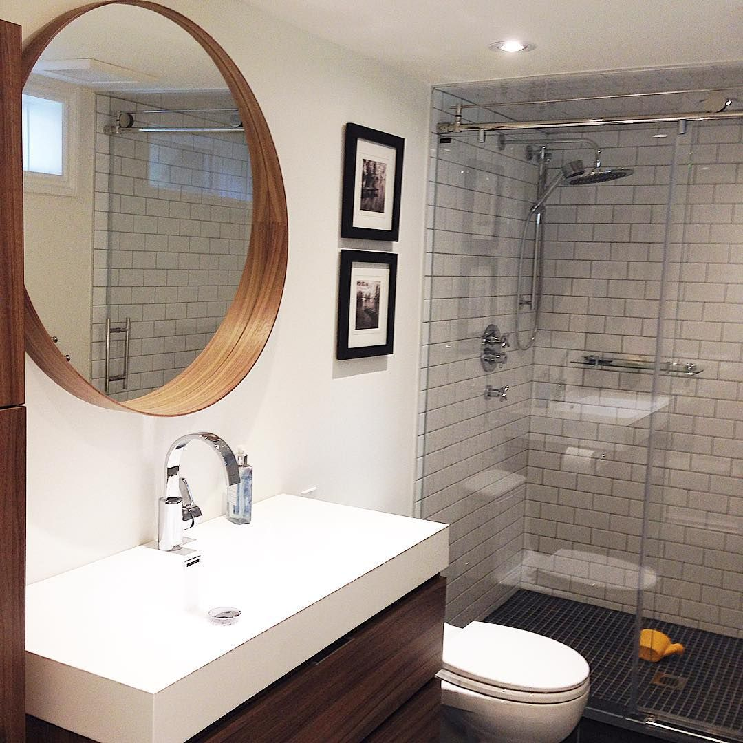 A recent bathroom consult had us picking some warm wood and crisp