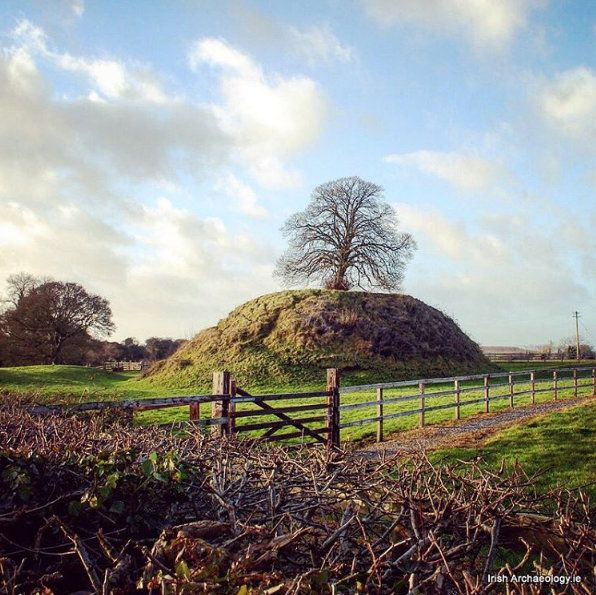 This large artificial mound near Clonard, Co. Meath, Ireland is the remains of a 12th century Anglo-Norman motte castle. The summit was probably originally defended by an enclosing palisade and wooden tower.  Source