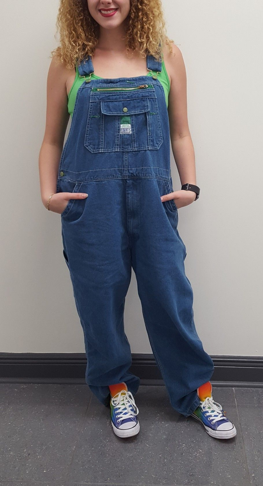 7d0cba569dfa70 Retro vintage 90s overalls these are plus-sized and baggy wear them with a  brightly colored solid tank top and some colorful Converse these are in the  pride ...