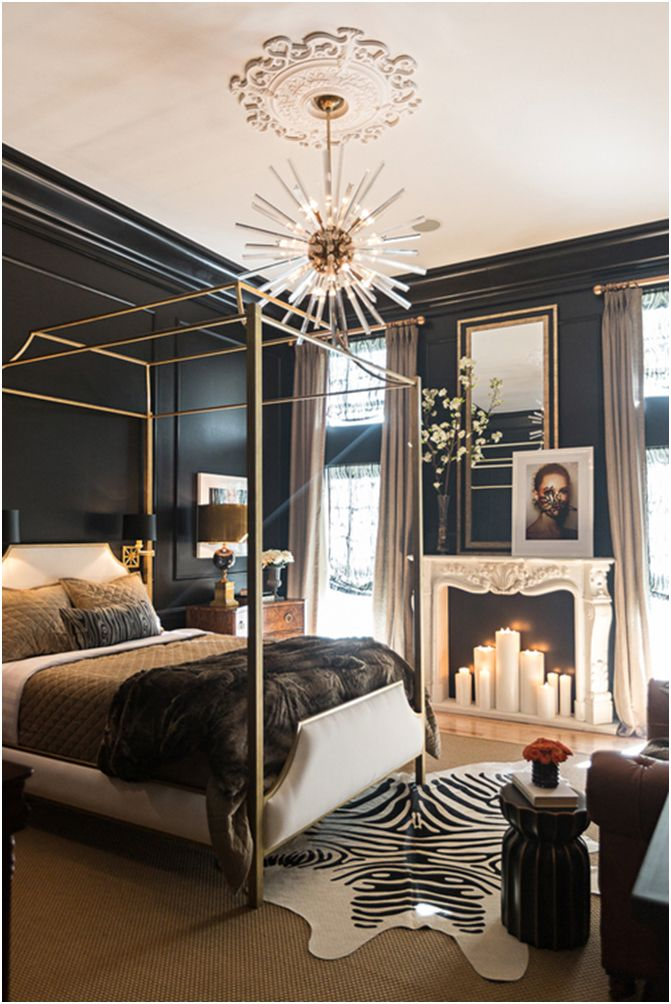 Classical masculine bedroom with statement chandelier Classical
