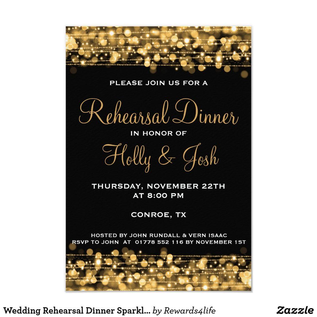 b0ddda90206 Wedding Rehearsal Dinner Sparkles Gold Invitation