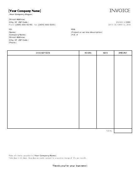 Office Invoice Template Office Invoice Template invoice - services rendered invoice