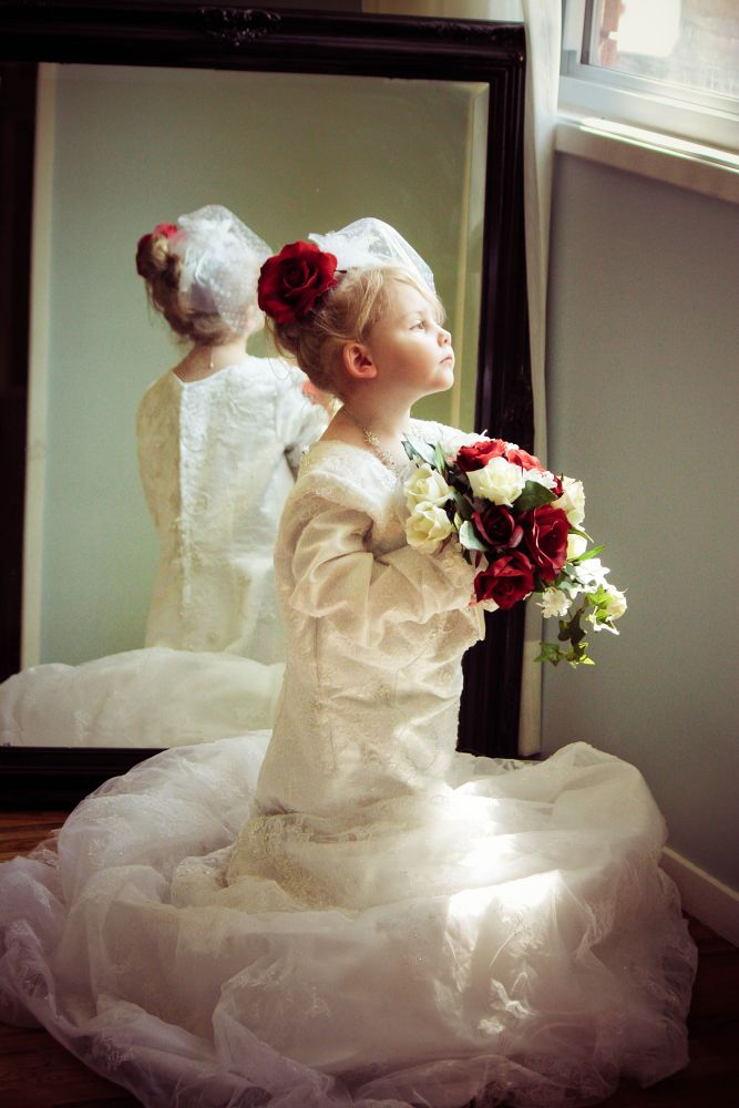 Little Girl Dress Up in mom\'s wedding dress... by ...