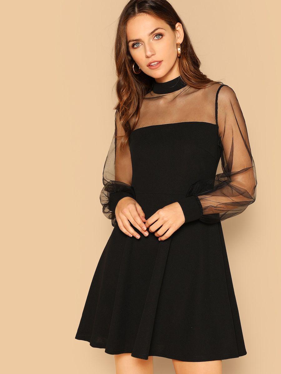 Mesh Contrast Mock Neck Dress Shein Sheinside Mock Neck Dress Contrast Dress Dresses [ 1199 x 900 Pixel ]