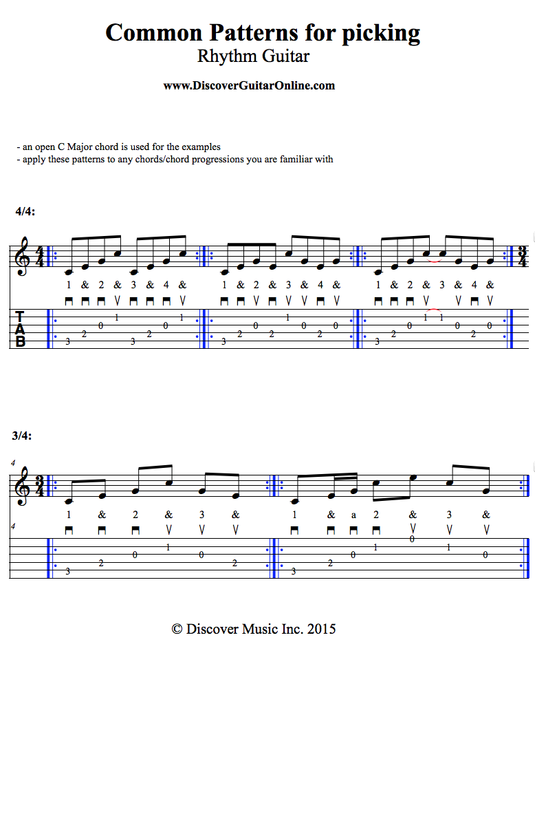 Picking Patterns For Rhythm Guitar Discover Guitar Online Learn