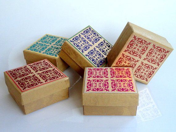 100 Assorted Indian Gold Print On Kraft Paper Wedding Favor Box