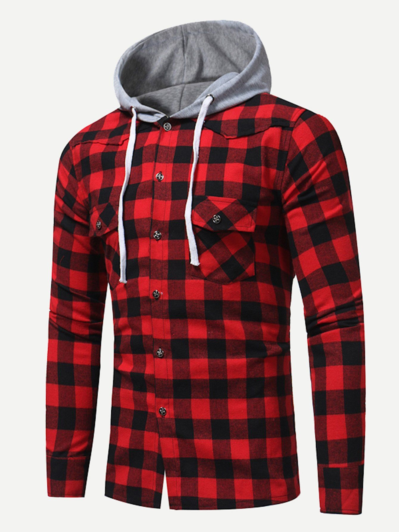 85280a3b92 Men Gingham Hooded Blouse -SheIn(Sheinside) | Clothes in 2019 ...