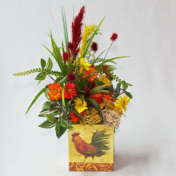 Artificial flower arrangement home decor kitchen decor floral artificial flower arrangement home decor kitchen decor floral arrangement in a rooster can teraionfo
