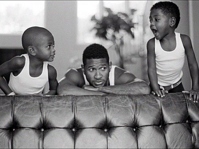 """Boys' Night     Usher's kids definitely get their cuteness from their dad! """"The boys kickin it!!"""" the singer posted on Jan. 2."""