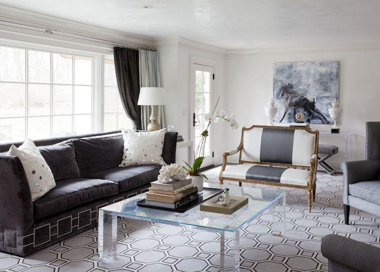 Suzie: Tiffany Eastman Interiors   Charcoal Gray Velvet Sofa With Nailhead  Trim, White Mirrored