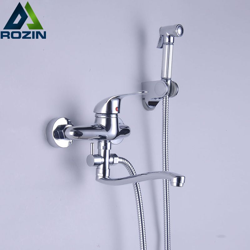 Creative Design Swivel Tub Spout Bath Faucet Wall Mounted With Handheld Bidet Sprayer Bathroom Mixer Taps Affiliate