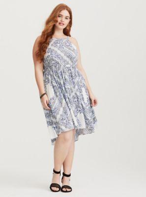 e4f85cc86c Blue Bandana High Neck Midi Dress in Pink