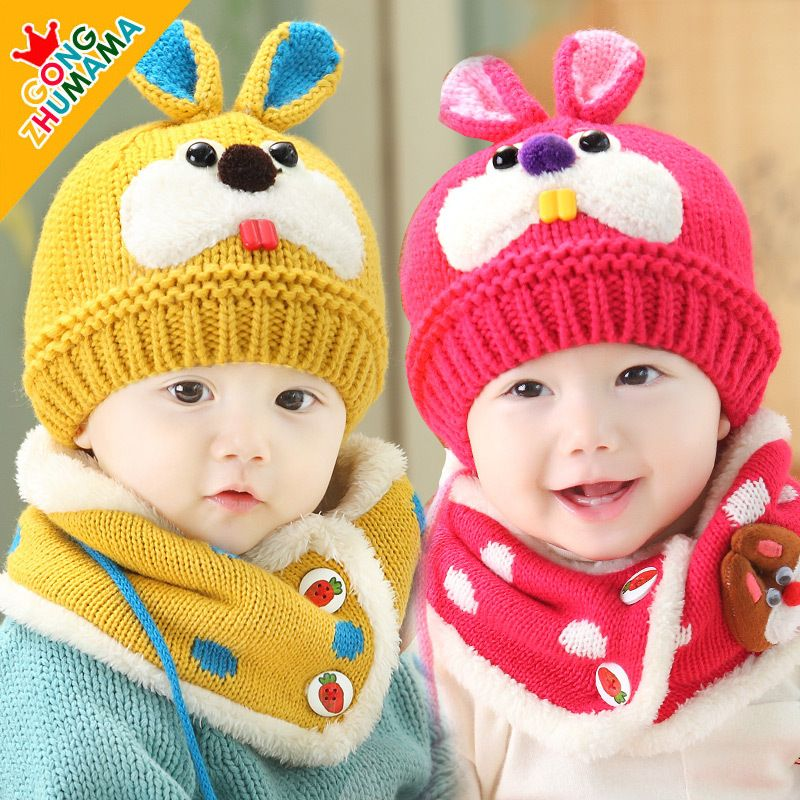 5a3ccc2a0c85d9 Click to Buy << Baby Infant Winter warm Hat and Scarf Set Beanie Baby hat  new winter baby hat rabbit ear hat hedging cap baby scarves #Affiliate