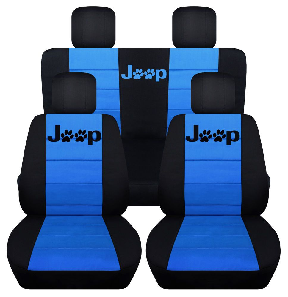 FrontRear Black Light Blue Seat Covers Paw Prints 2Door Jeep Wrangler 2011 2016 Designcovers