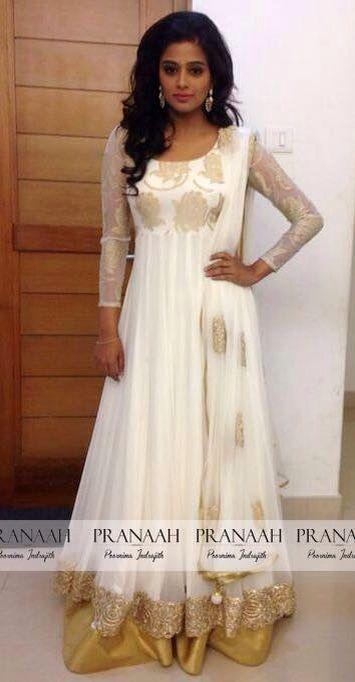 87a088c184 Priya Mani in a White anarkali by Pranaah White Anarkali, Anarkali Dress, Anarkali  Suits