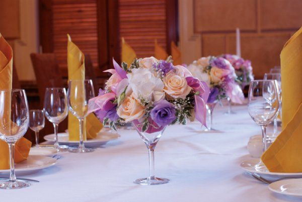 Reception Decor featuring Rose Centerpiece in Wine Glass Vase