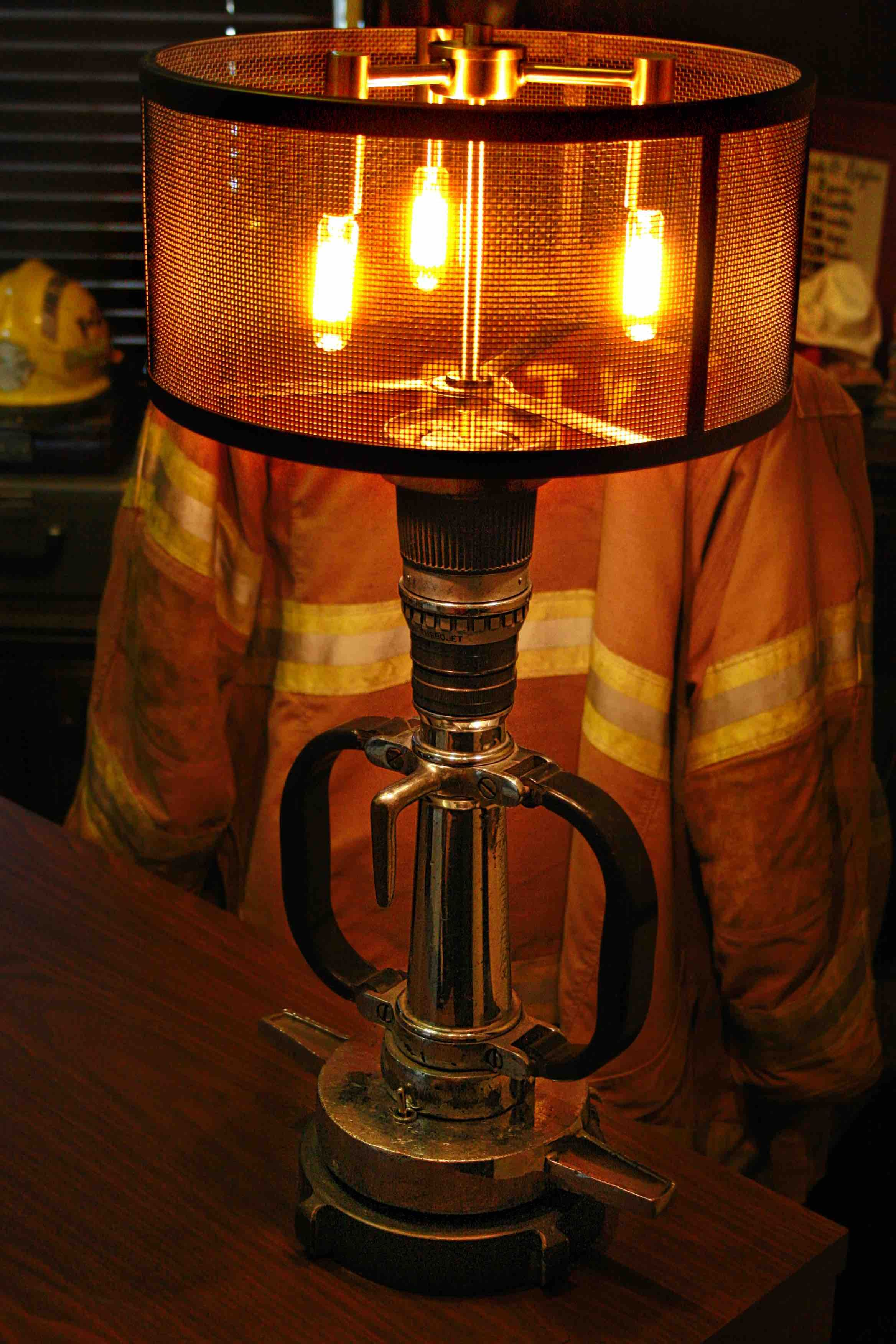 Fire Fighter Decor Diy Lamp Fire Fighter Nozzle Converted To A Lamp Steampunk Lighting Firefighter Decor Fire Truck Room