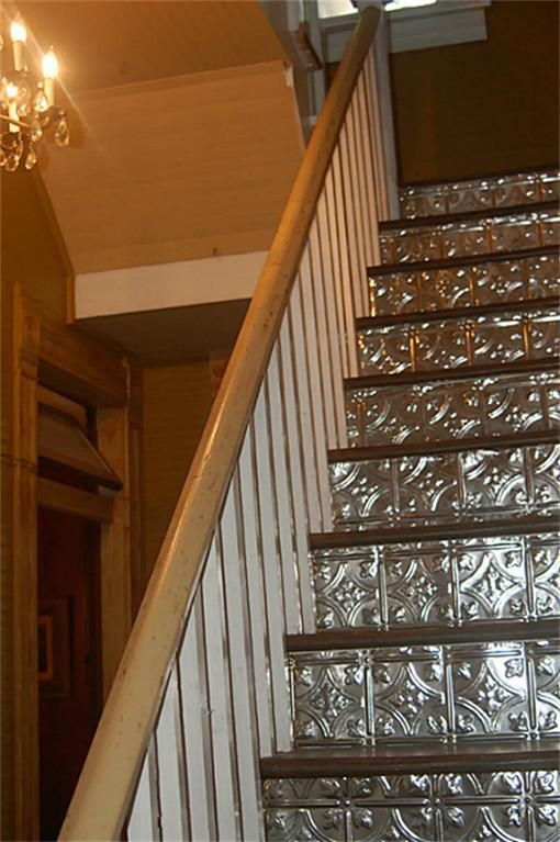 Plastic backsplash panels ~ Tin tiles ~ Stair Risers. *this would look  great on our stairs leading down to the basement/ garage!!* - This Would Be Much Nicer Glazed Or Patina Ted In Some Way