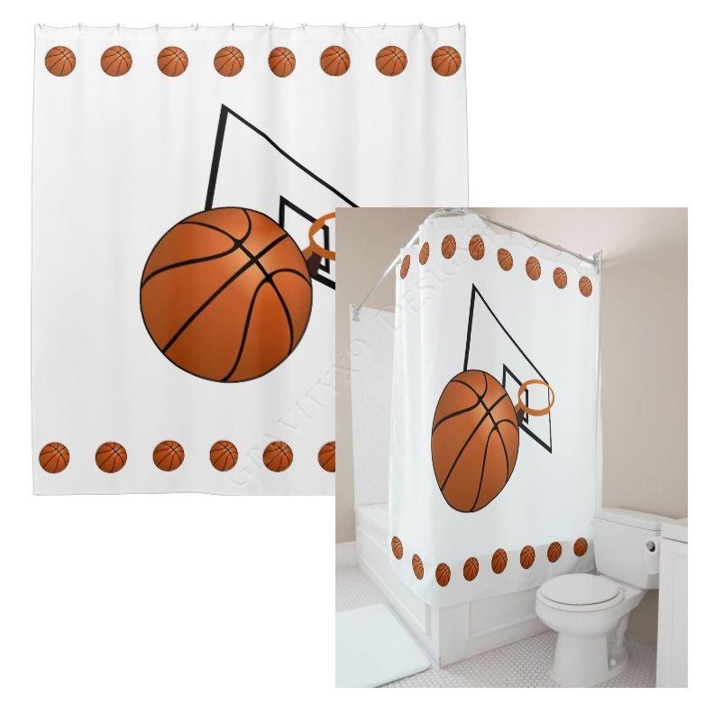 Basketball And Hoop Shower Curtain Zazzle Com Custom Shower