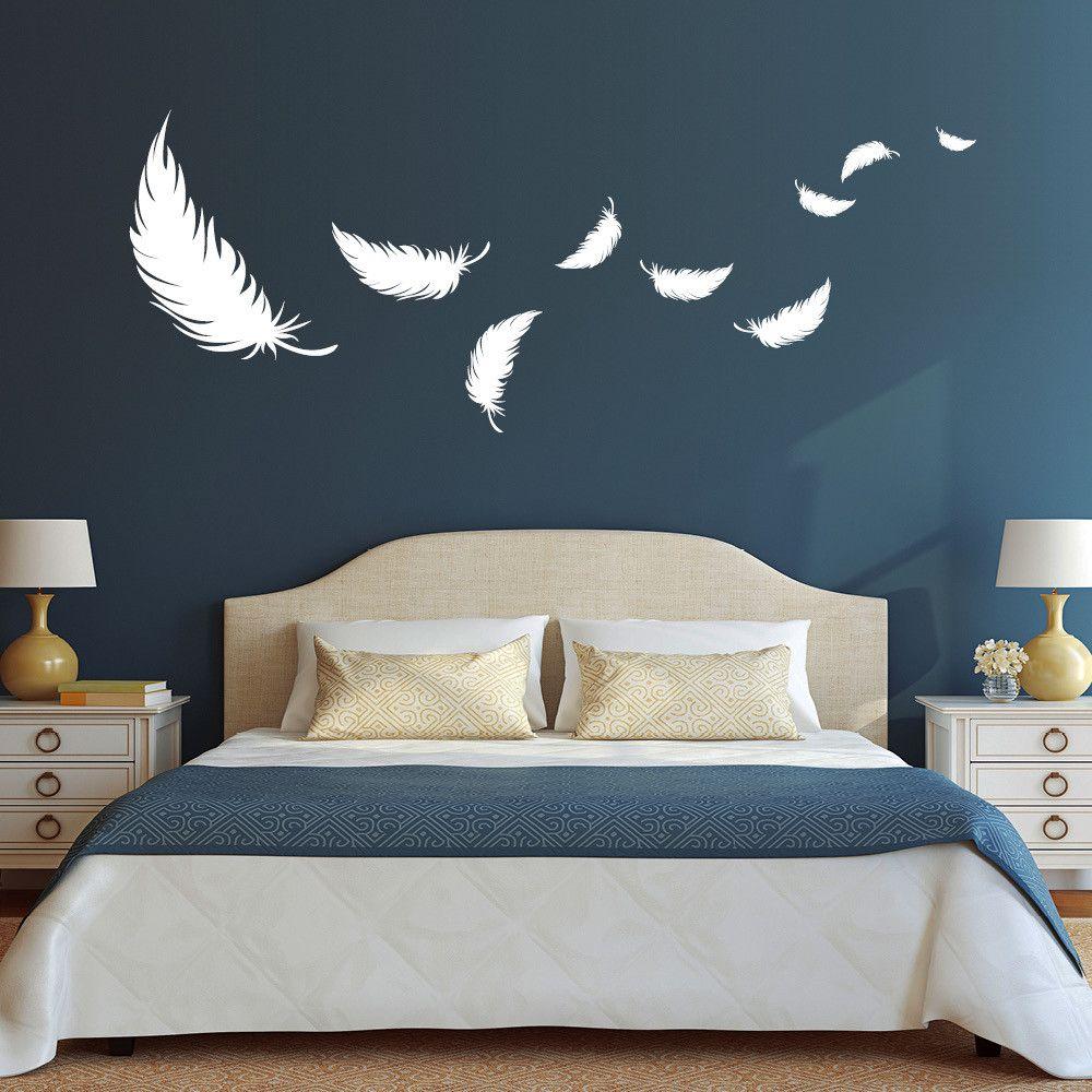 Schlafzimmer Wandfarbe Beige Wandgestaltung Schlafzimmer: Wandtattoo Deko Federn Schlafzimmer Feder XL