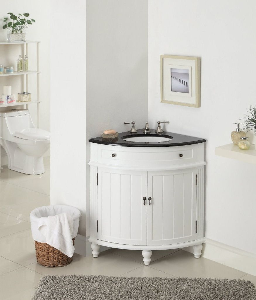 Bathroom Corner Cabinet In Small Size With White Color Completed Round Sink And Double Lever Faucet Provide To