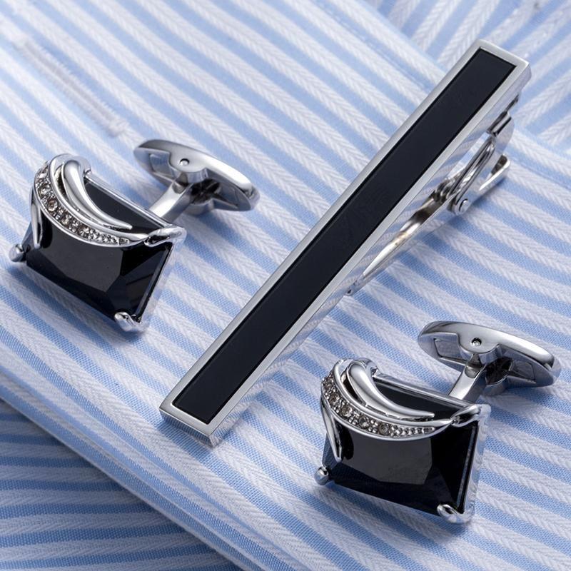 Tie Clip Cuff-links Set Tie Bar and Cufflink Cufflinks Tie Bar Tie Clip Set Tie Clasp Tie Clip Cufflinks Leather Cuff Links Tie Bar