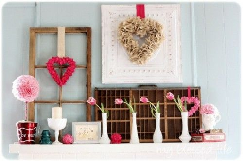 DIY Valentineu0027s Day Gifts And Decoration Design Fireplace Mantel