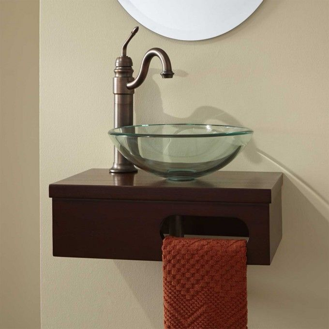 18 Dell Mahogany Wall Mount Vessel Vanity With Towel Bar
