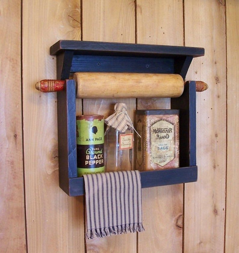 Farmhouse Style Rolling Pin Spice Rack Handmade By