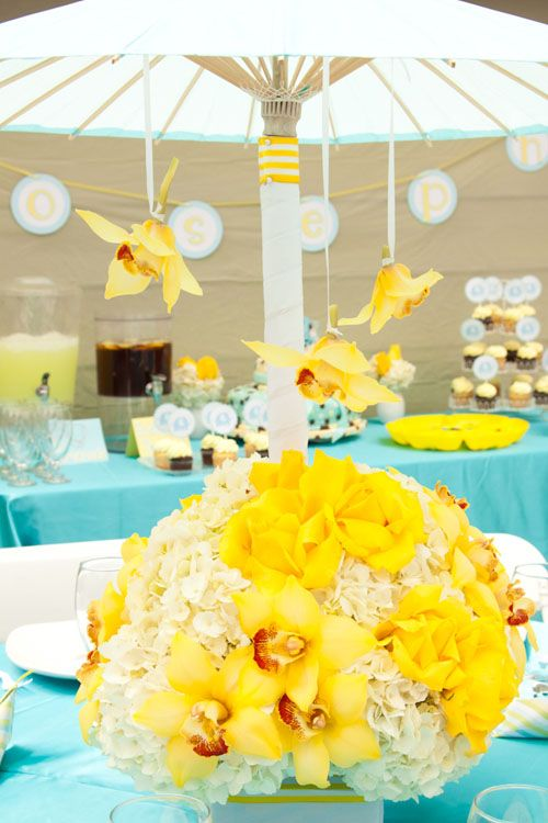 turquoise blue and yellow elegant elephant baby shower umbrella with hydrangea and orchid flower