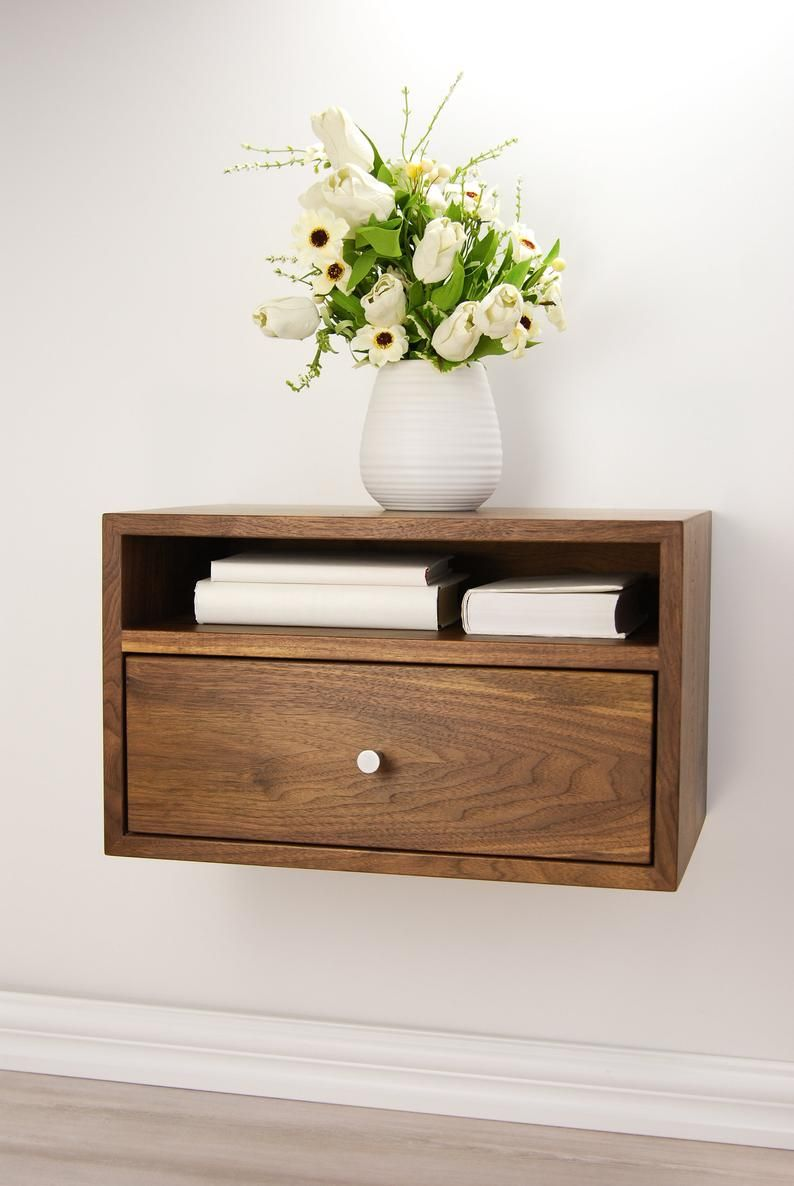 Floating Nightstand With Drawer And Open Shelf Solid Walnut Wood Hanging Bedside Table Scandinavian Mid Century Modern Minimalist Floating Shelves Bedroom Bedroom Night Stands Floating Bedside Table