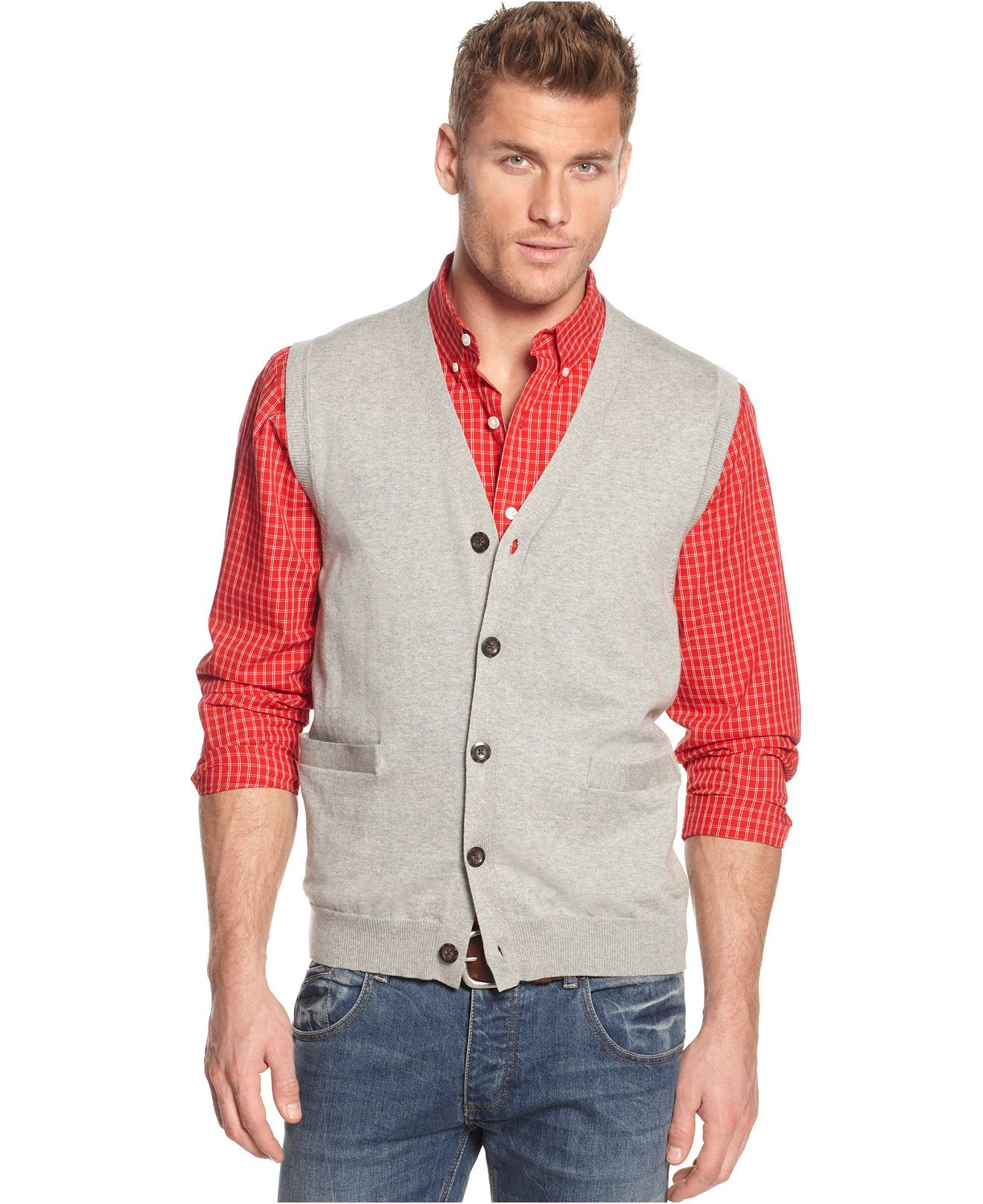 Club Room Vest, Solid Button Front Sweater Vest - Mens Sweaters ...