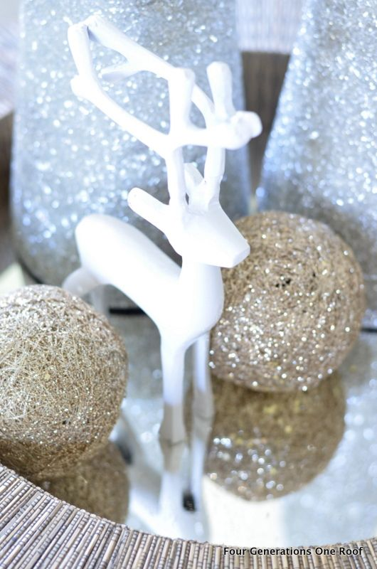 Gold And White Christmas Table Decorations our gold + silver christmas tree {decorated family room | gold