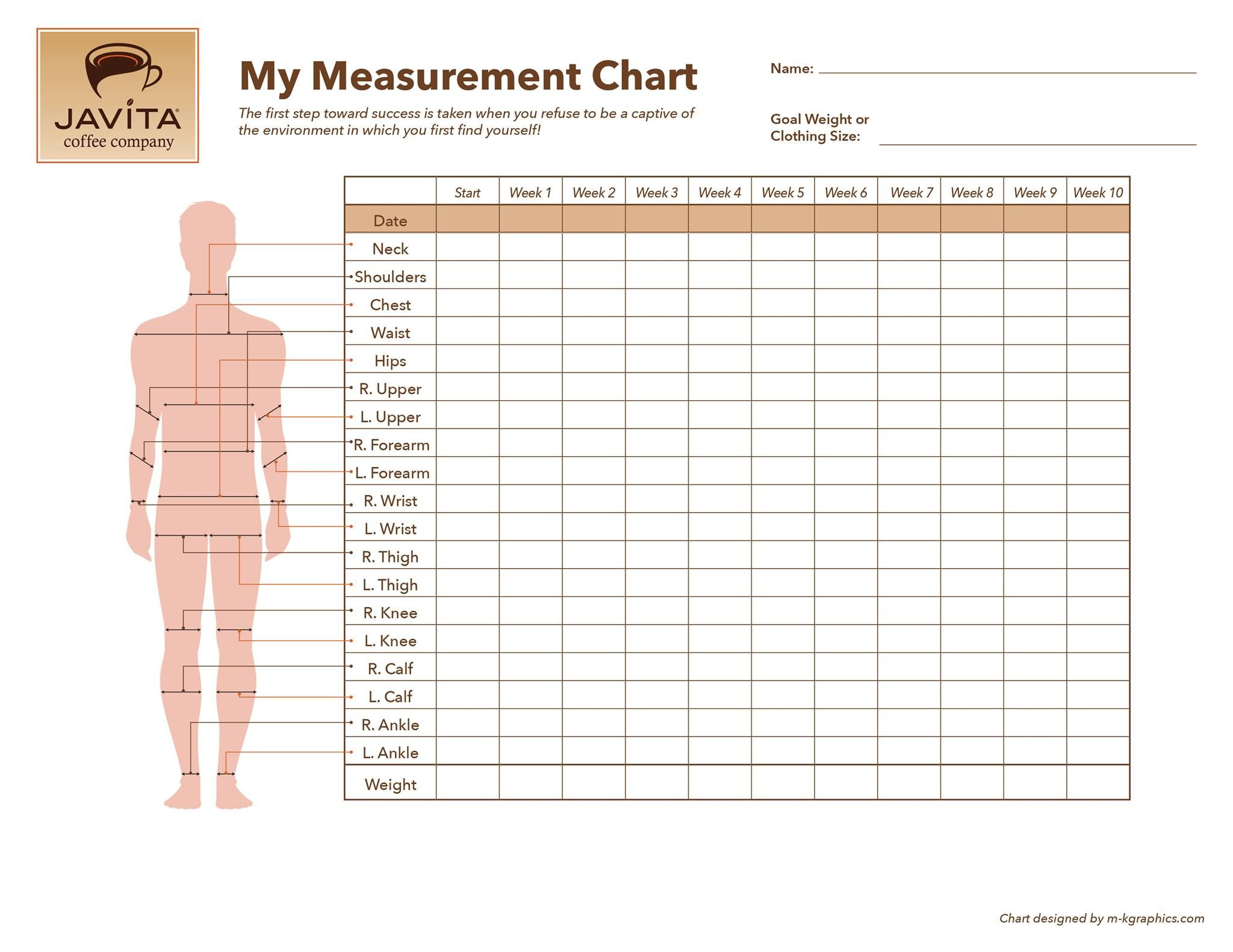 weight loss body measurements chart