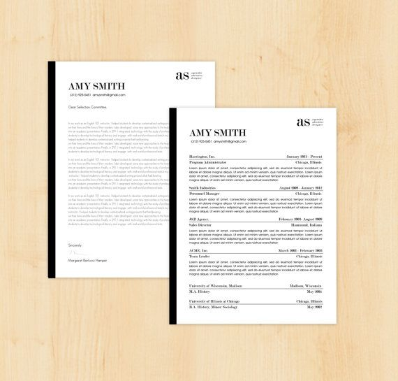 resume template cover letter template the amy smith resume design instant download
