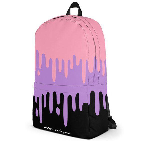 Pastel Slime Backpack School Bag yami kawaii purple pink drips pop kei pastel  goth aesthetic bookbag caf0e679c44d3