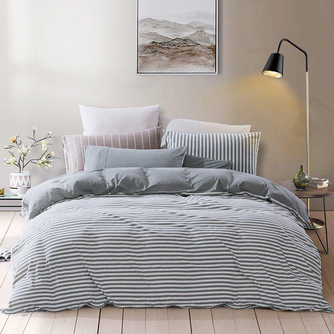 Best Amazon Com Pure Era Striped Duvet Cover Jersey Knit 400 x 300