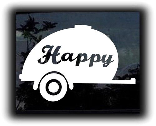 Happy camper white vinyl 6 car decal graphic swim art wall sticker car usa camping outdoors fun awesome cute funny read more at the image link