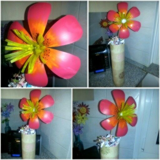 made this flower completely out of a plastic soda bottle