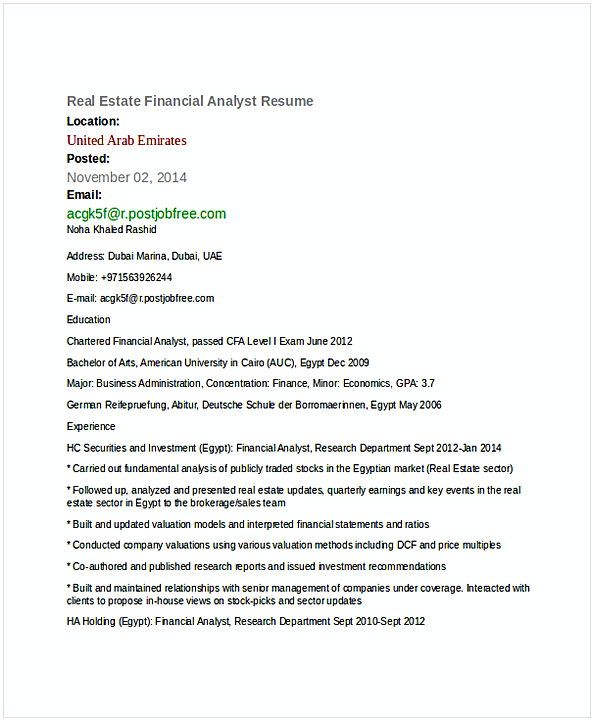 Real Estate Financial Analyst Resume   Financial Analyst Resume