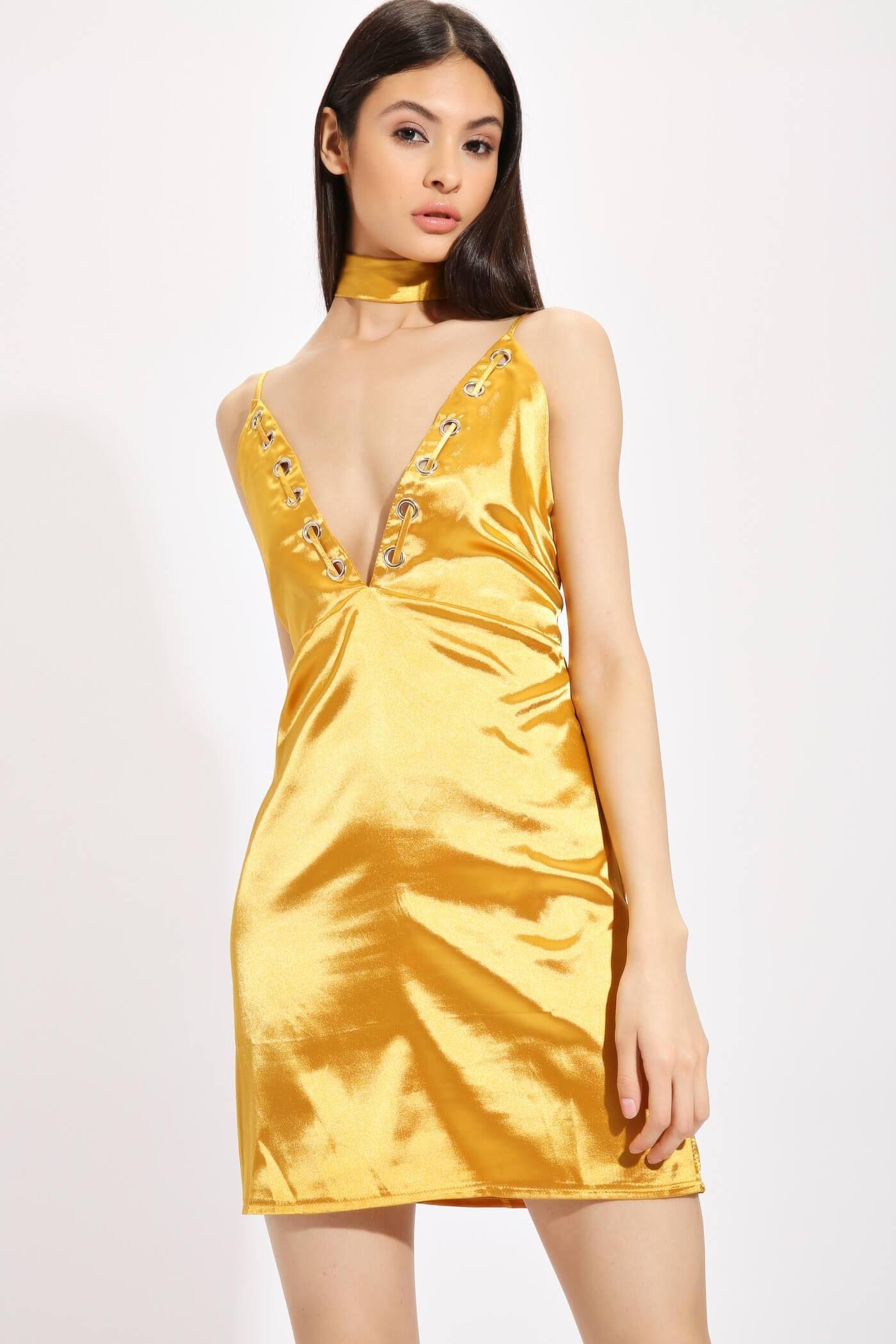 587246ab39 Gold Satin Eyelet Shift Dress