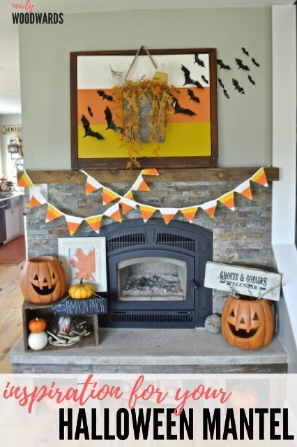 A candy corn mantel Candy corn, Spooky halloween and Mantels