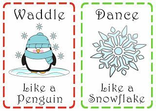 Family is friendship christmas action cards interesting for Winter themed gross motor activities