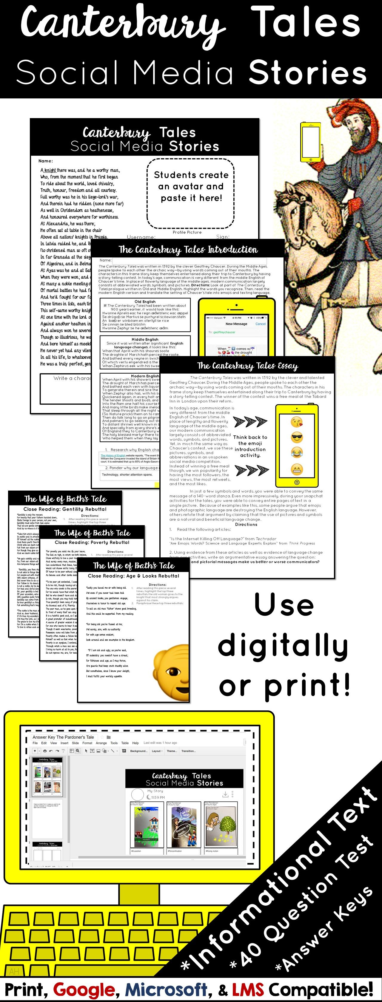 This Canterbury Tales Unit Plan Is A Fun Way For Students To Work On Character Traits Story Elements Infor Canterbury Tales Transition Words For Essays Essay