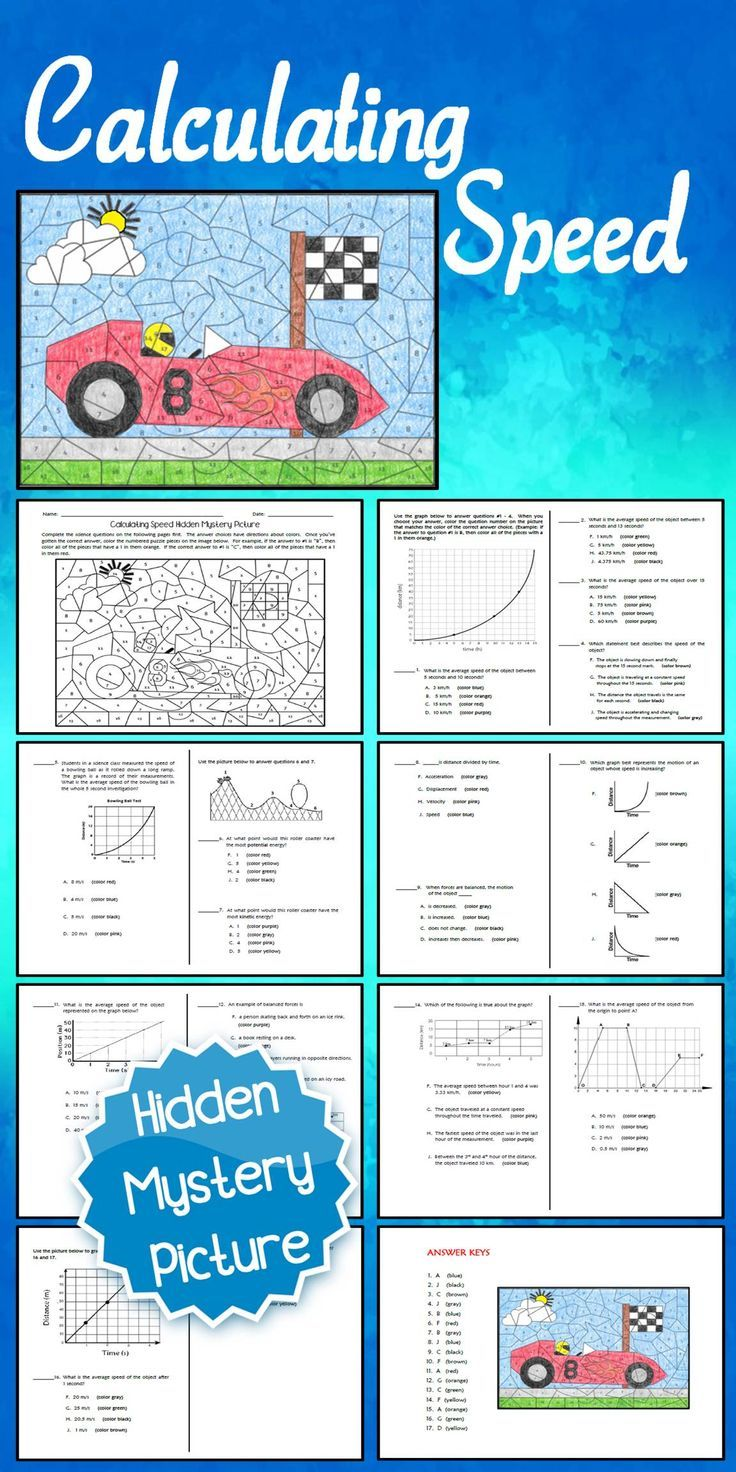 Calculating Speed Hidden Mystery Picture Winter math