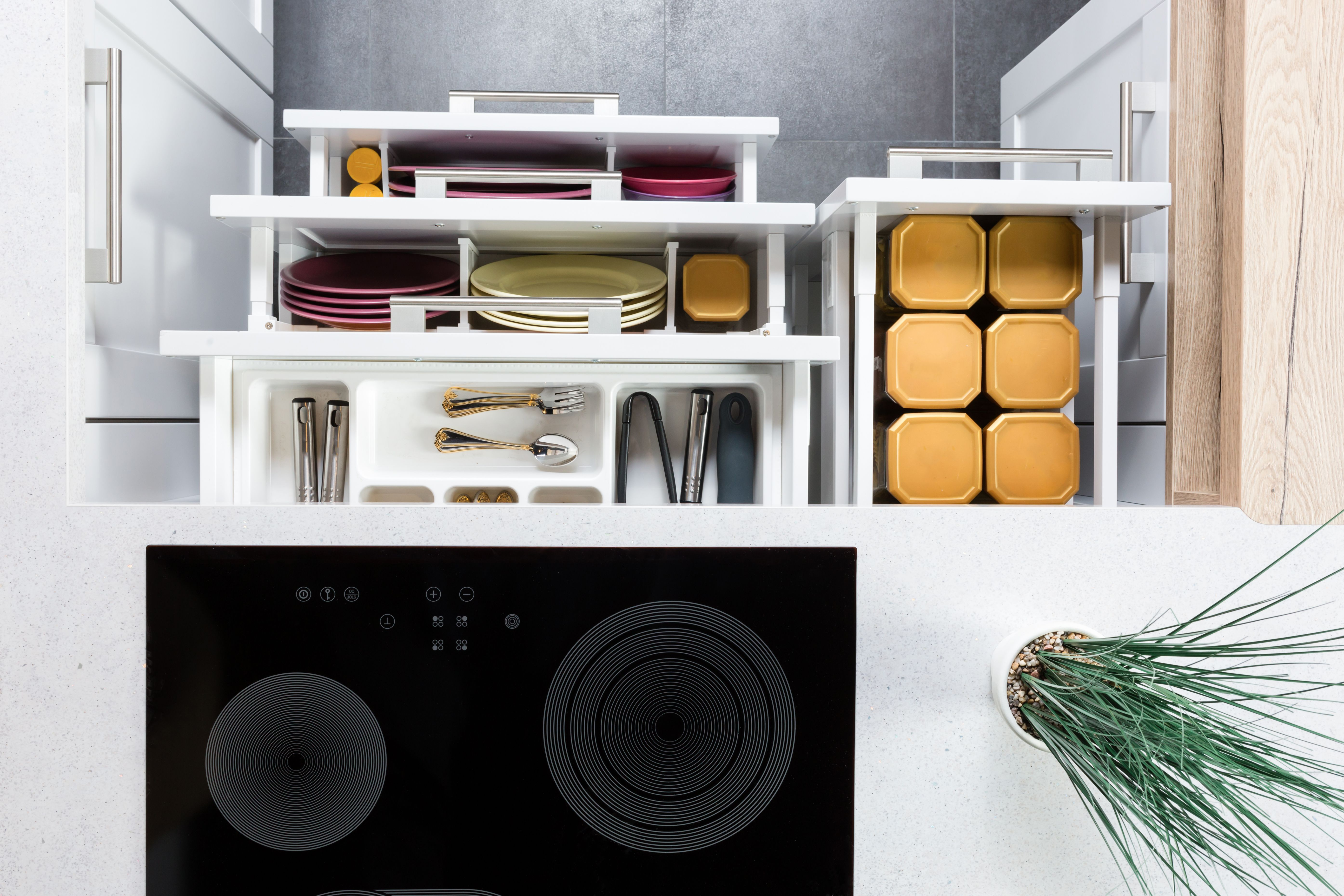 Inside organised kitchen drawers