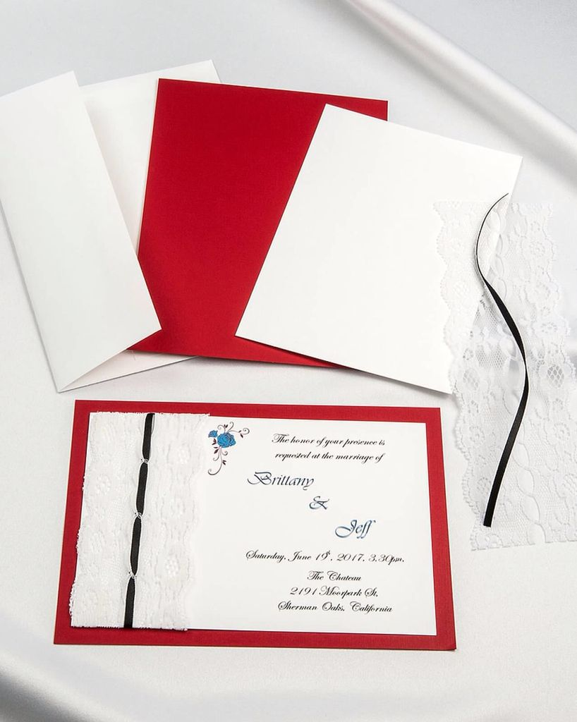 Jewel Red threaded lace diy invitations with white envelope and ...