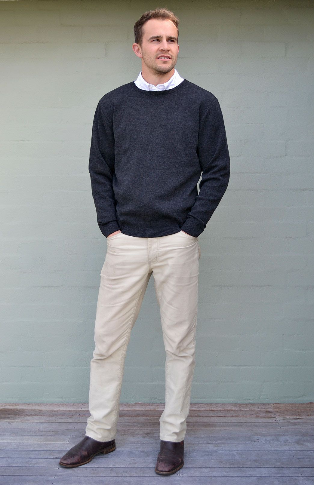 debb07b8b47386 Men's Chunky Crew Jumper Superfine merino wool Australian made by Smitten  Merino in Tasmania